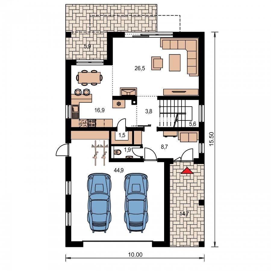 Pôdorys Prízemia - Rodinný dom s dvojgarážou