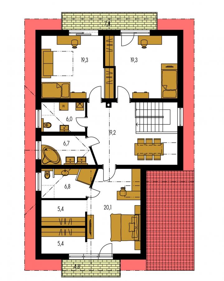 Pôdorys Poschodia - Rodinný dom s dvojgarážou.