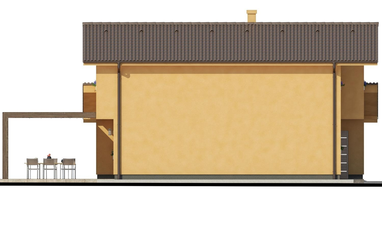 Pohľad 4. - Rodinný dom s pozdĺžnou prejazdnou dvojgarážou