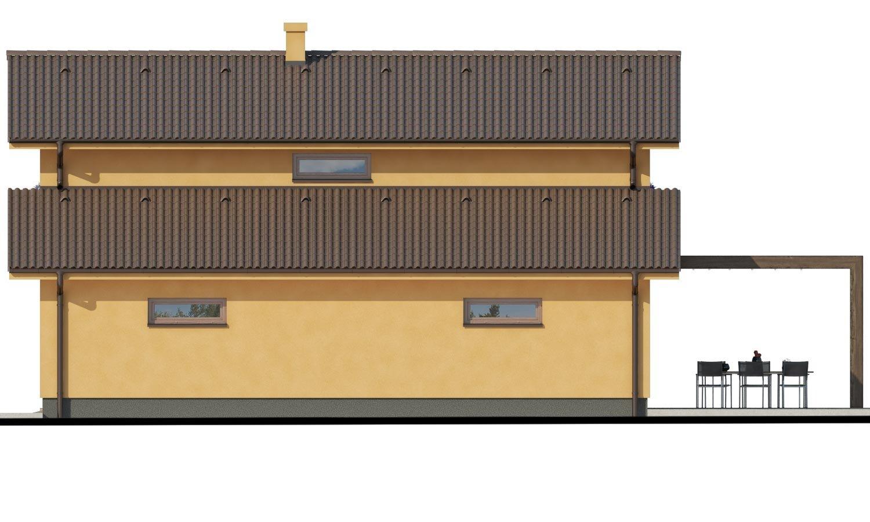 Pohľad 2. - Rodinný dom s pozdĺžnou prejazdnou dvojgarážou