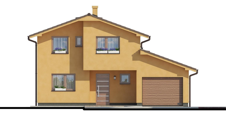 Pohľad 1. - Rodinný dom s pozdĺžnou prejazdnou dvojgarážou