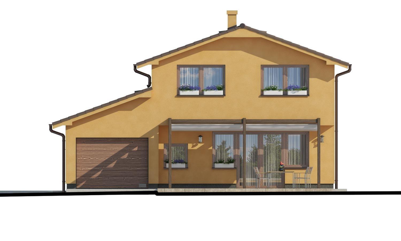 Pohľad 3. - Rodinný dom s pozdĺžnou prejazdnou dvojgarážou