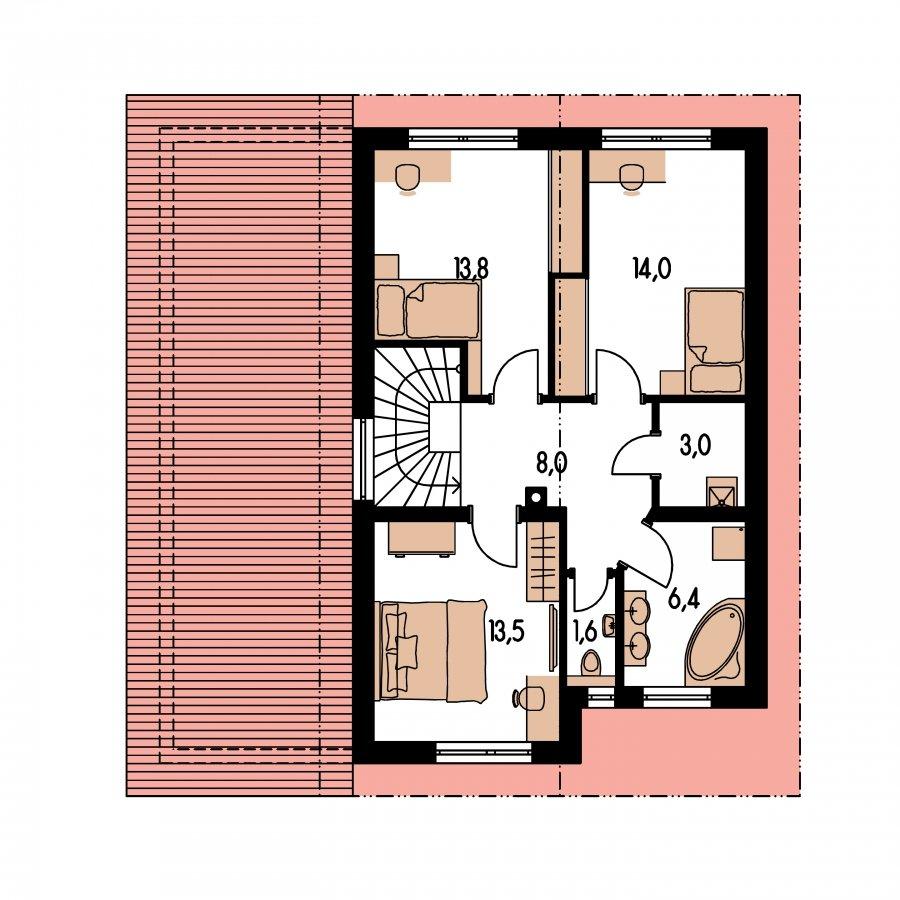 Pôdorys Poschodia - Rodinný dom s pozdĺžnou prejazdnou dvojgarážou