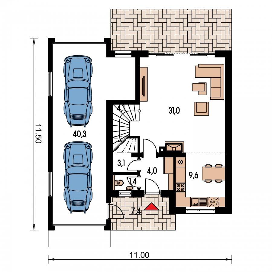 Pôdorys Prízemia - Rodinný dom s pozdĺžnou prejazdnou dvojgarážou