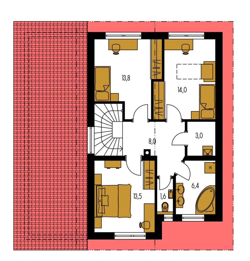 Pôdorys Poschodia - Rodinný dom s pozdĺžnou prejazdnou dvojgarážou.