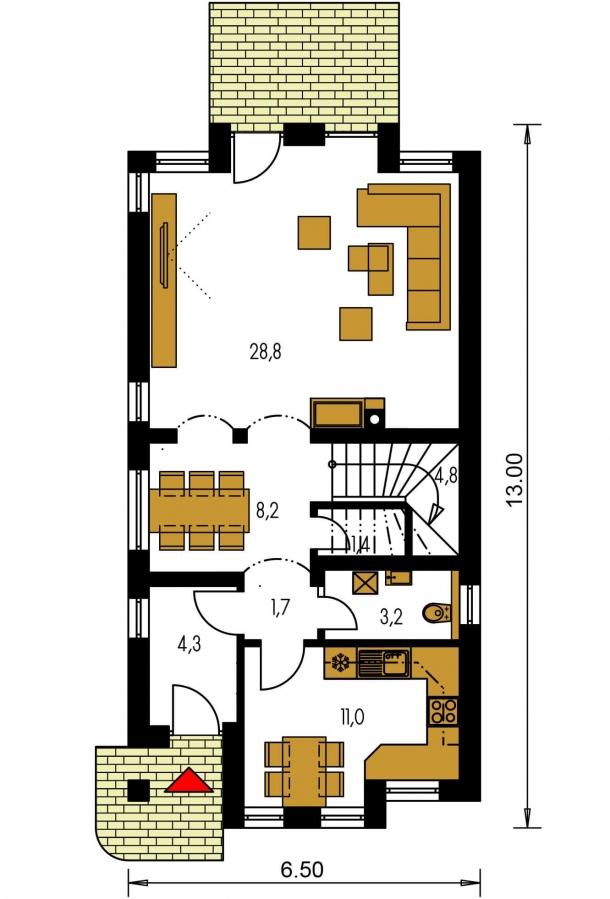 Pôdorys Prízemia - Poschodový dom na úzky pozemok