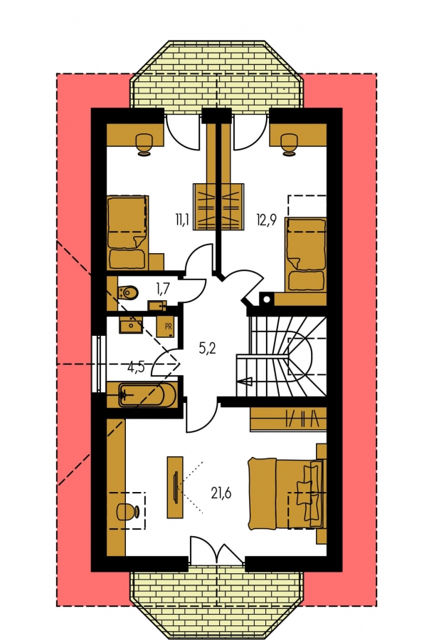 Pôdorys Poschodia - Poschodový dom na úzky pozemok.