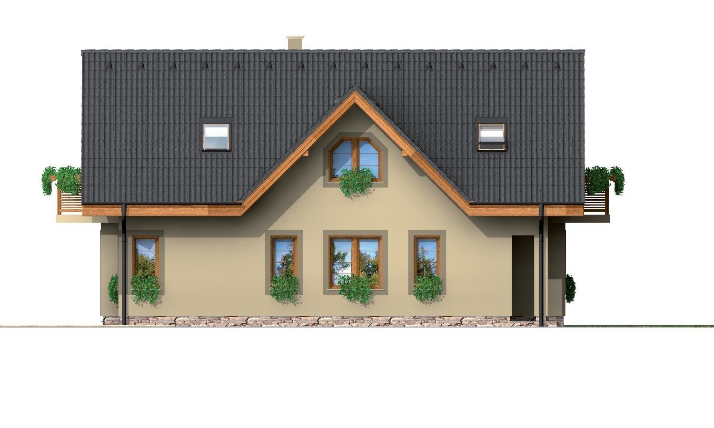 Pohľad 4. - Poschodový dom na úzky pozemok.