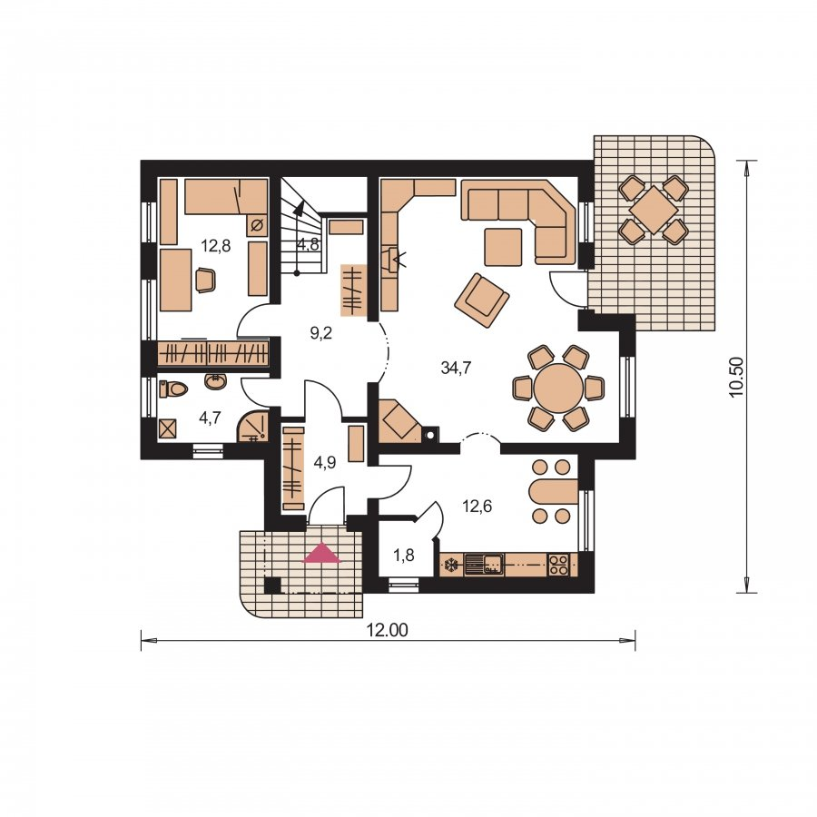 Pôdorys Prízemia - Krásny dom pre veľkú rodinu
