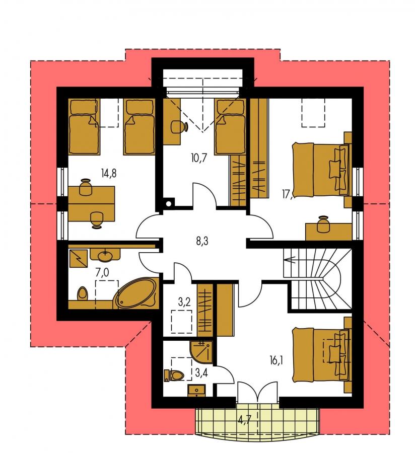 Pôdorys Poschodia - Krásny dom pre veľkú rodinu.