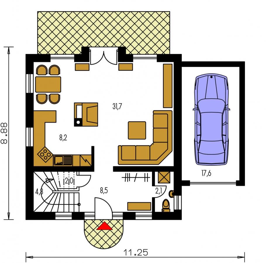 Pôdorys Prízemia - Klasický 4-izbový rodinný dom s garážou.