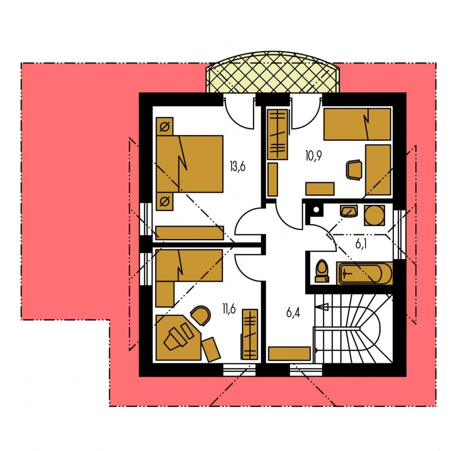 Pôdorys Poschodia - Klasický 4-izbový rodinný dom s garážou.