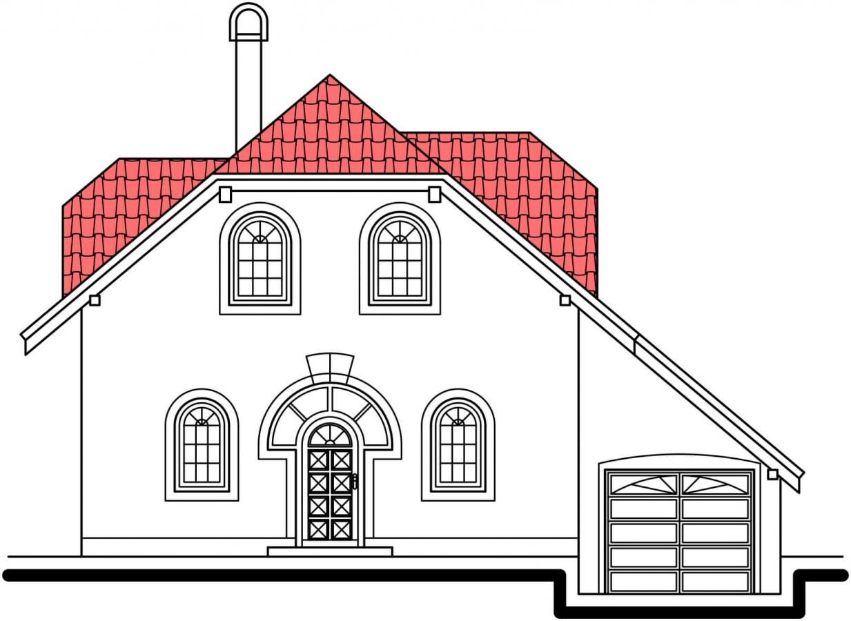 Pohľad 1. - Klasický 4-izbový rodinný dom s garážou.
