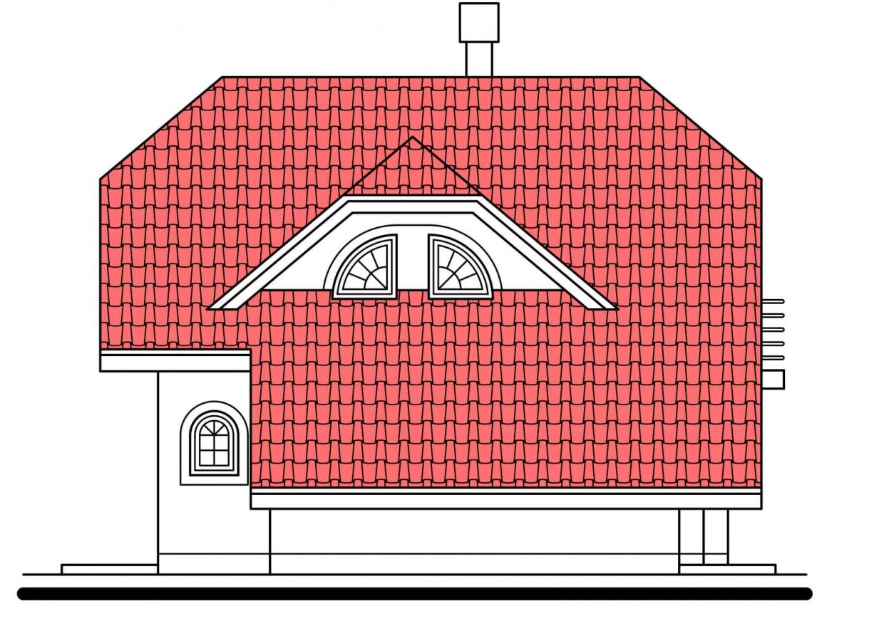 Pohľad 2. - Klasický 4-izbový rodinný dom s garážou.