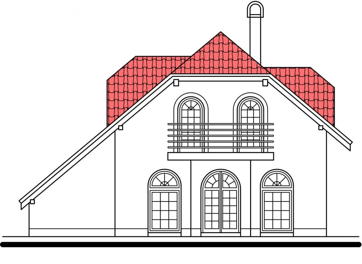 Pohľad 3. - Klasický 4-izbový rodinný dom s garážou.