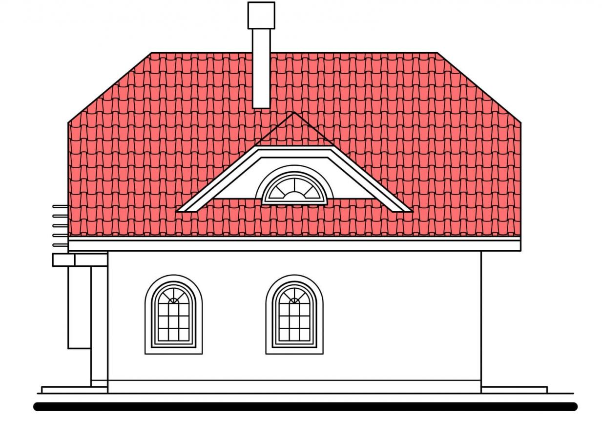 Pohľad 4. - Klasický 4-izbový rodinný dom s garážou.