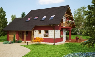 Malý dom so sedlovou strechou a garážou.