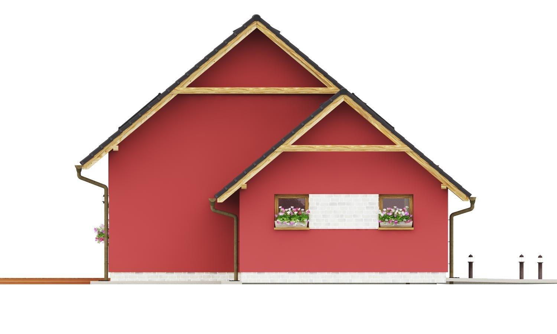 Pohľad 4. - Malý dom so sedlovou strechou a garážou.