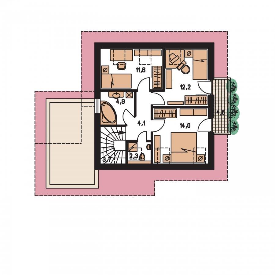Pôdorys Poschodia - Malý dom so sedlovou strechou a garážou