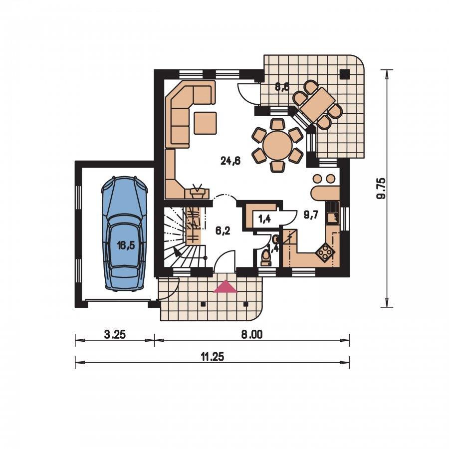Pôdorys Prízemia - Malý dom so sedlovou strechou a garážou