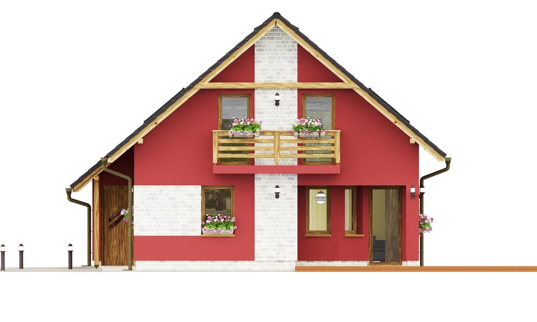Pohľad 2. - Malý dom so sedlovou strechou a garážou.