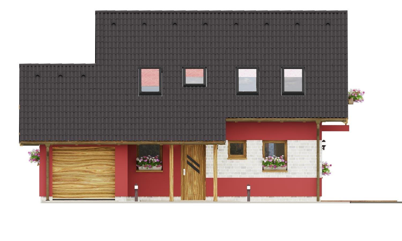 Pohľad 1. - Malý dom so sedlovou strechou a garážou.