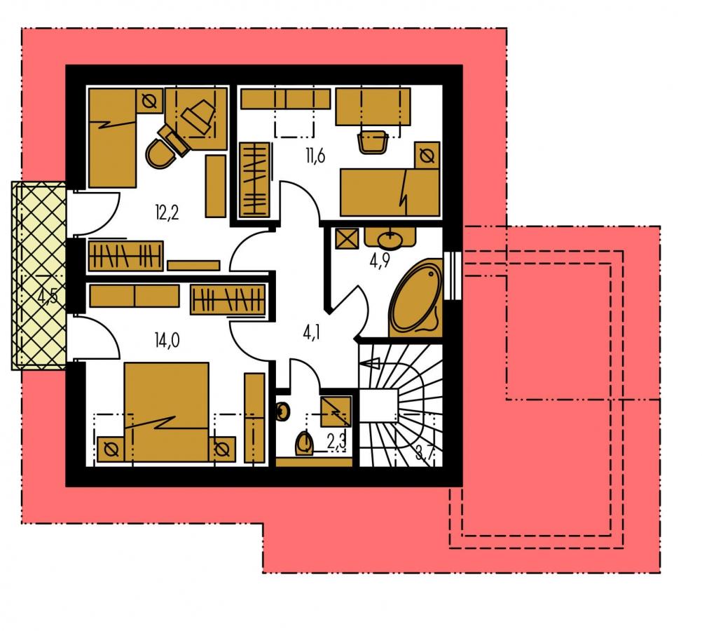 Pôdorys Poschodia - Malý dom so sedlovou strechou a garážou.