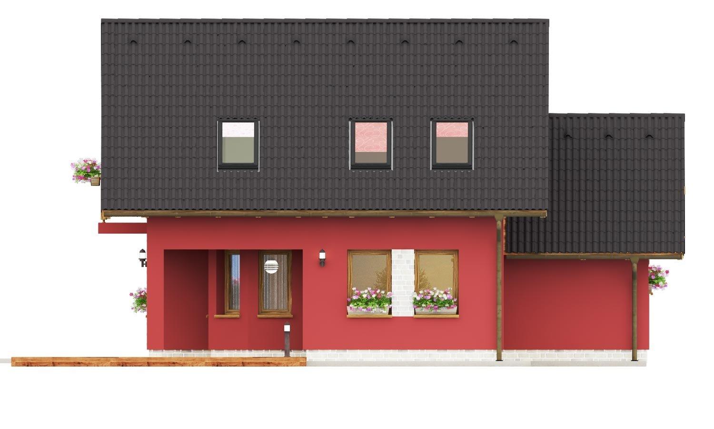 Pohľad 3. - Malý dom so sedlovou strechou a garážou.