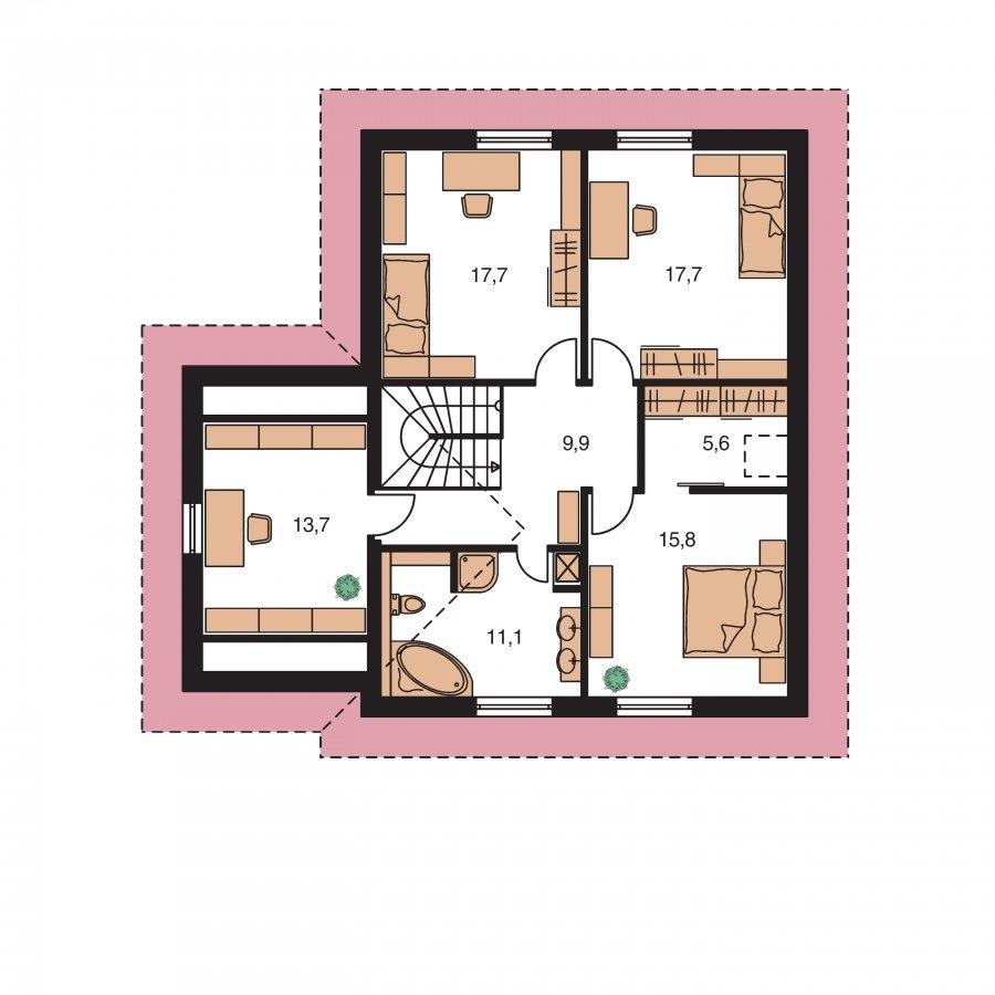 Pôdorys Poschodia - Projekt domu s garážou a izbou na prízemí.