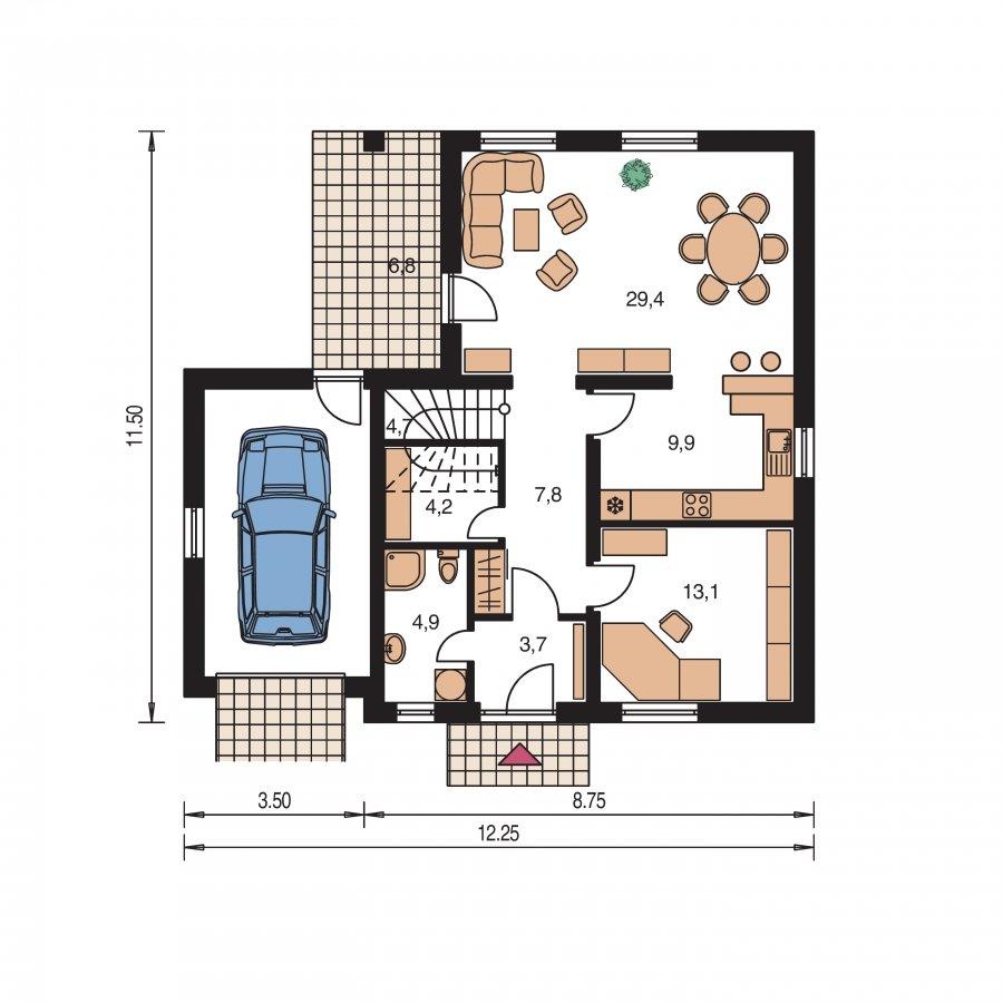 Pôdorys Prízemia - Projekt domu s garážou a izbou na prízemí.