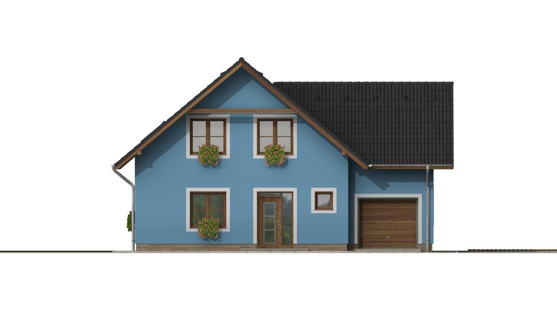 Pohľad 1. - Projekt domu s garážou a izbou na prízemí.