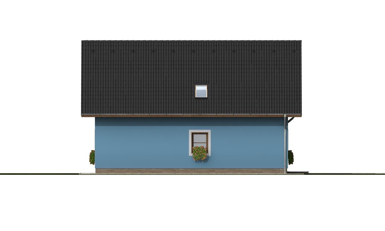 Pohľad 2. - Projekt domu s garážou a izbou na prízemí.