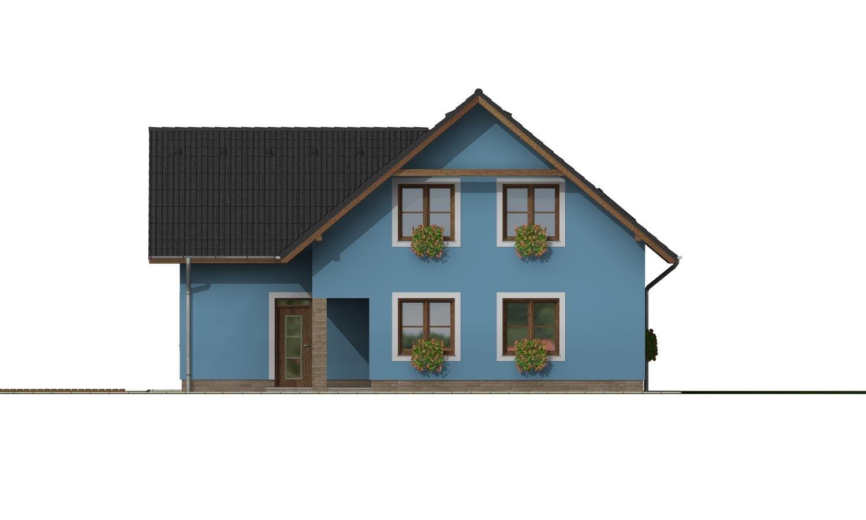 Pohľad 3. - Projekt domu s garážou a izbou na prízemí.