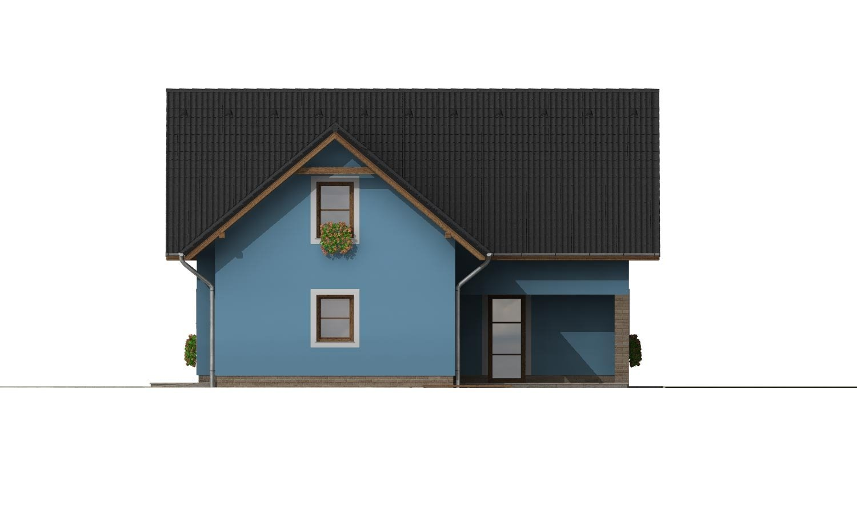 Pohľad 4. - Projekt domu s garážou a izbou na prízemí.
