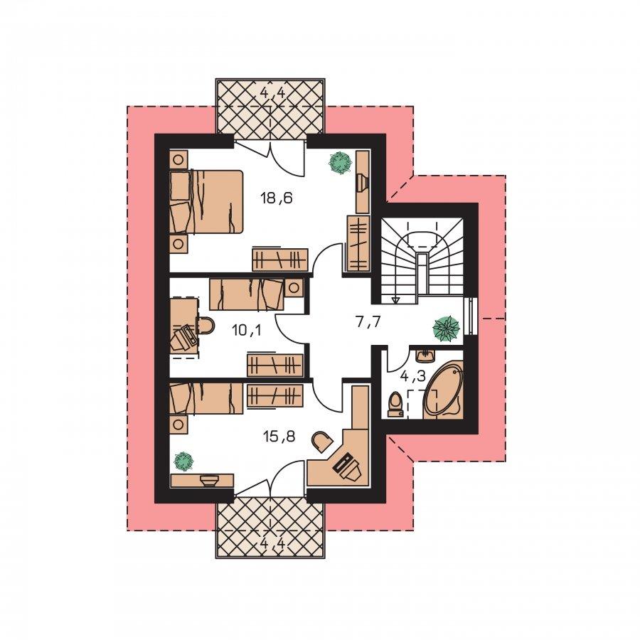 Pôdorys Poschodia - Klasický poschodový rodinný dom s bočným schodiskom
