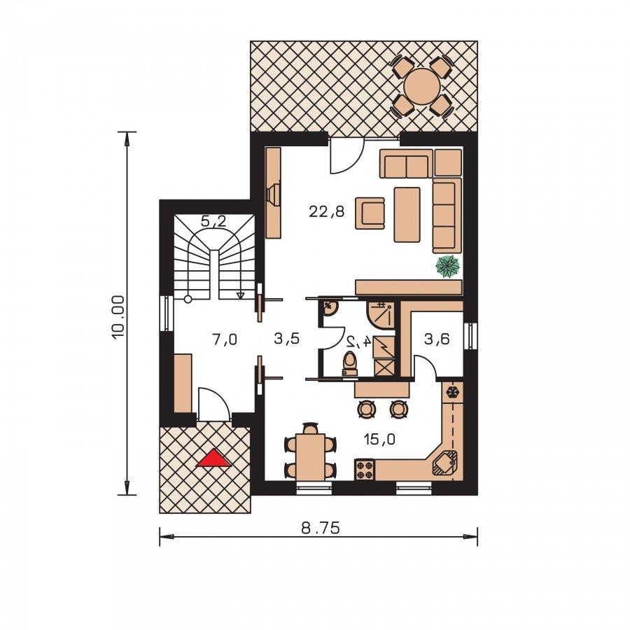 Pôdorys Prízemia - Klasický poschodový rodinný dom s bočným schodiskom