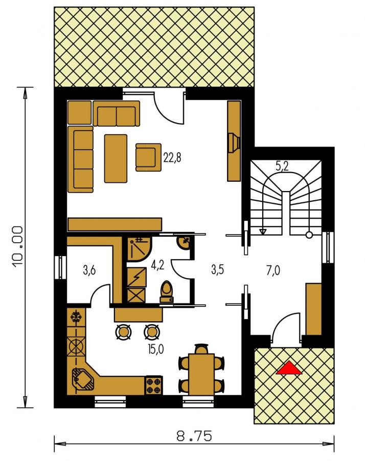 Pôdorys Prízemia - Klasický poschodový rodinný dom s bočným schodiskom.