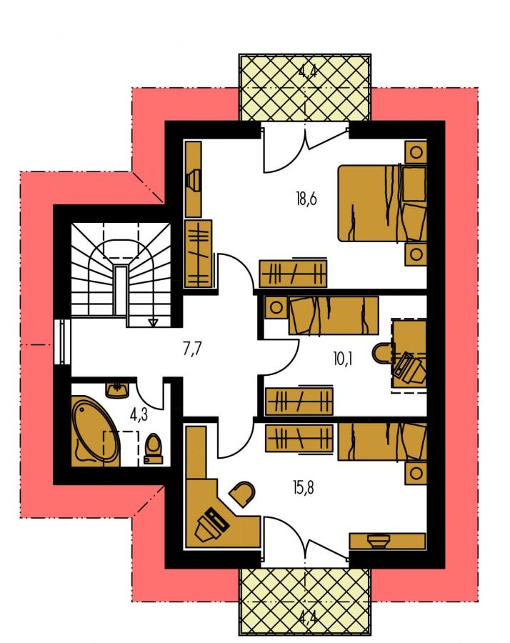 Pôdorys Poschodia - Klasický poschodový rodinný dom s bočným schodiskom.