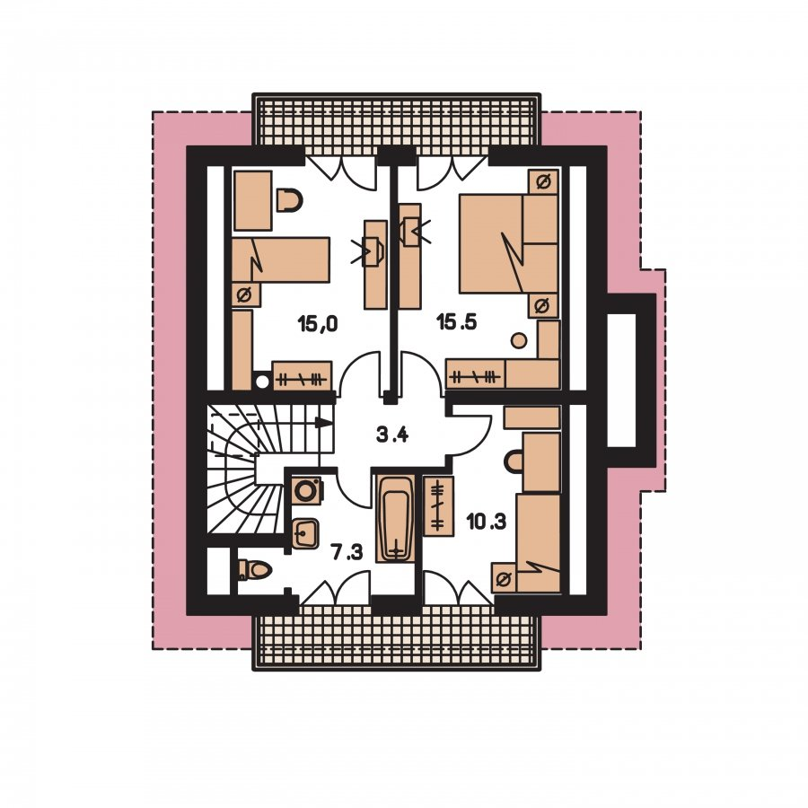 Pôdorys Poschodia - Klasický podkrovný dom s terasou.