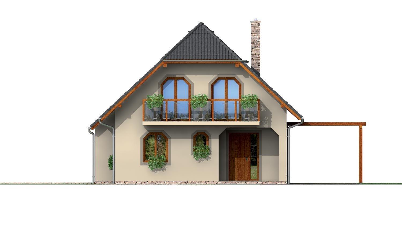 Pohľad 1. - Klasický podkrovný dom s terasou.