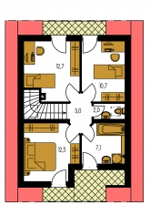 Zrkadlový obraz | Pôdorys poschodia - PREMIER 86