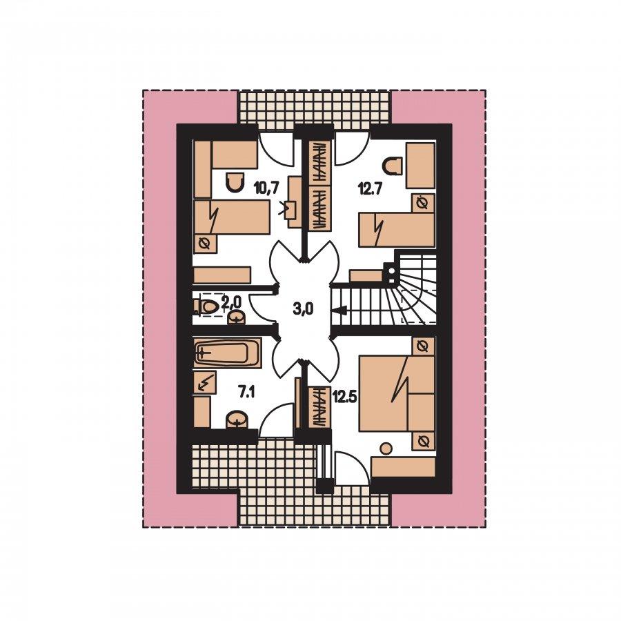 Pôdorys Poschodia - Malý dom vhodný aj na záhradnú chatu