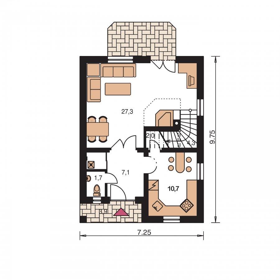 Pôdorys Prízemia - Malý dom vhodný aj na záhradnú chatu