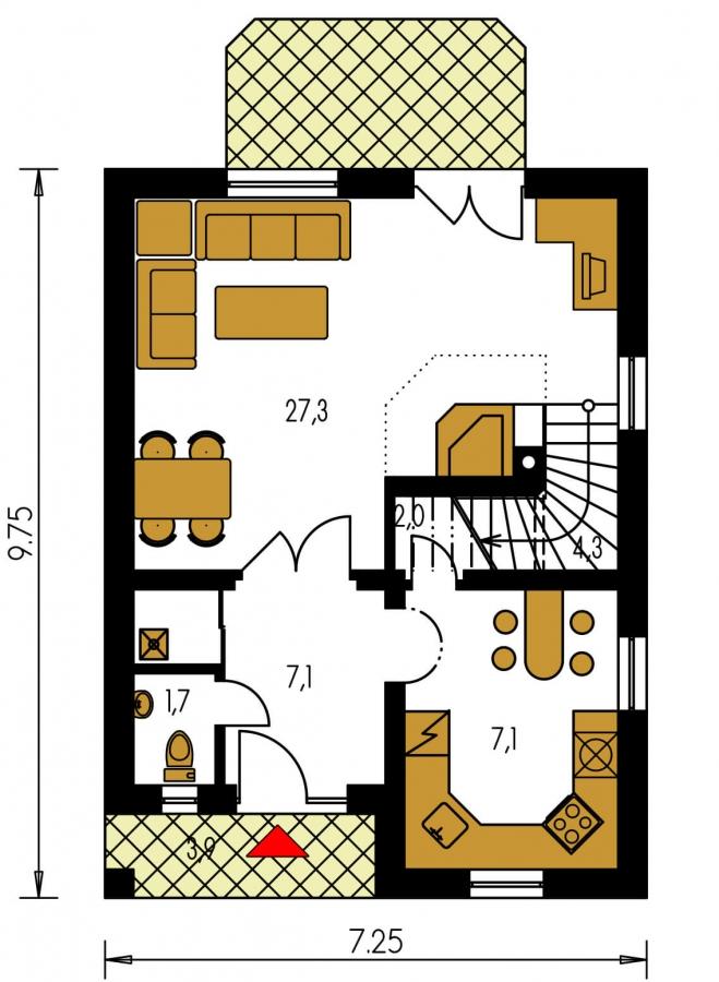 Pôdorys Prízemia - Malý dom vhodný aj ako záhradná chata.