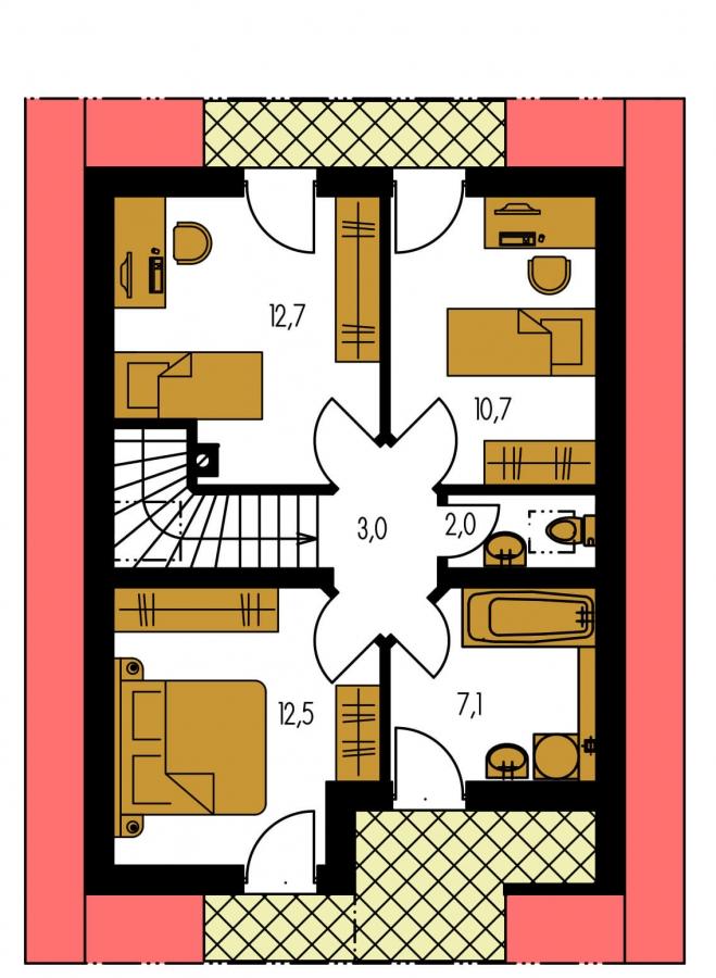 Pôdorys Poschodia - Malý dom vhodný aj ako záhradná chata.