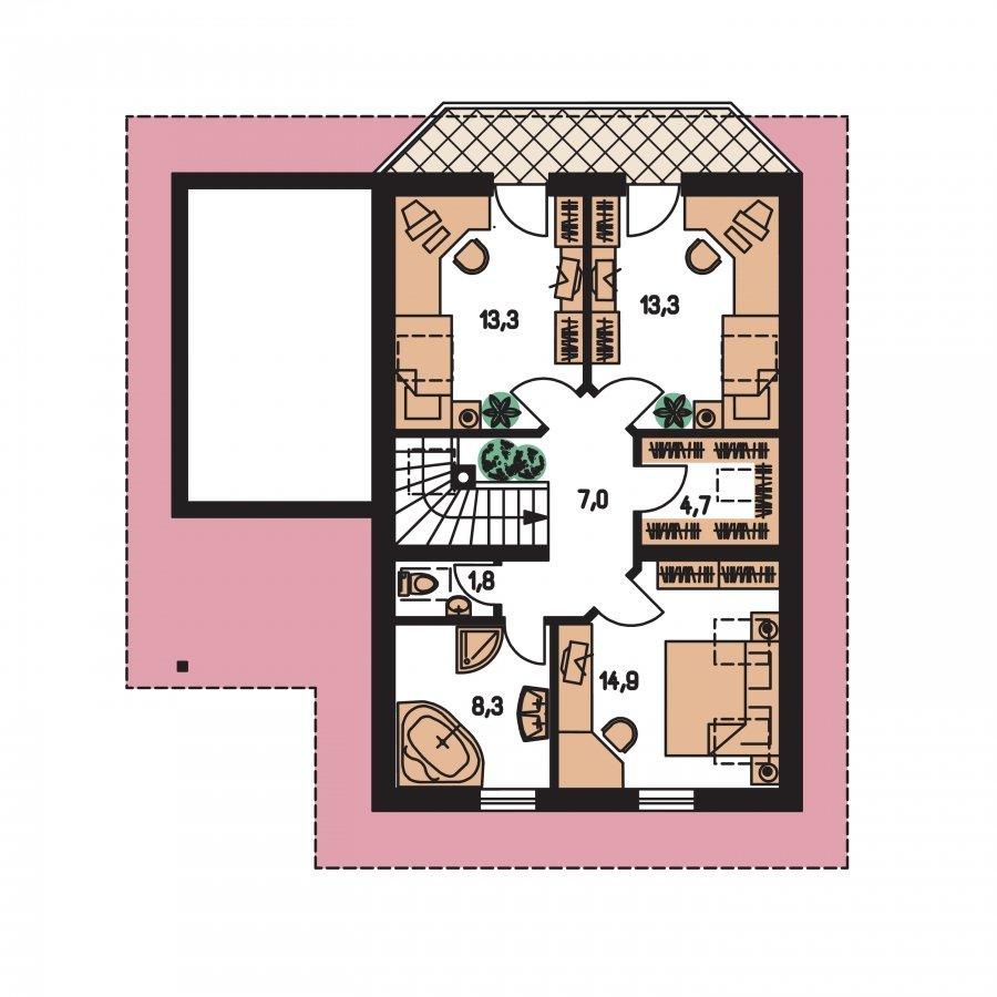 Pôdorys Poschodia - Poschodový dom s izbou na prízemí