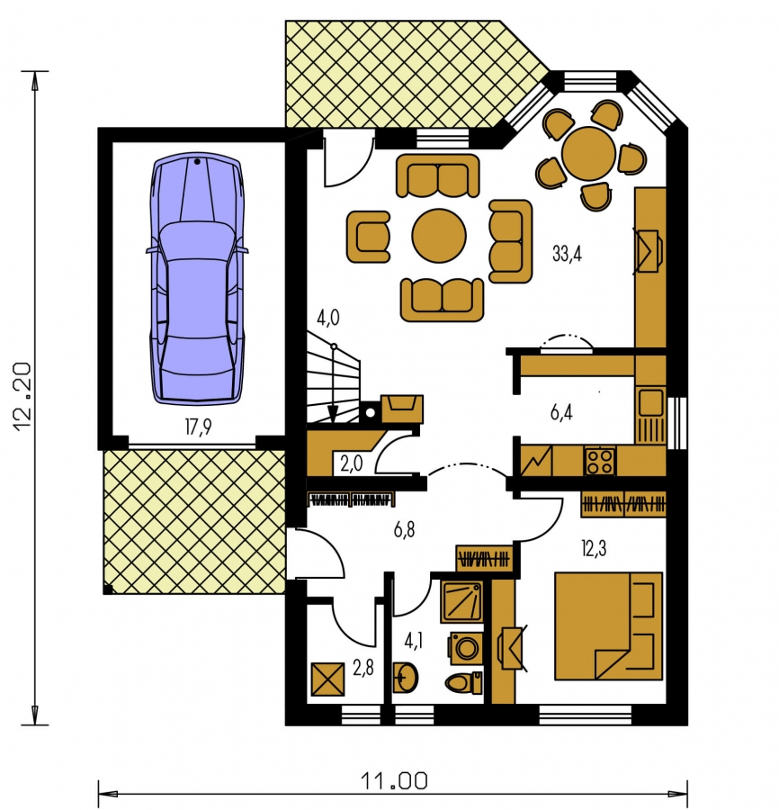 Pôdorys Prízemia - Poschodový dom s izbou na prízemí.