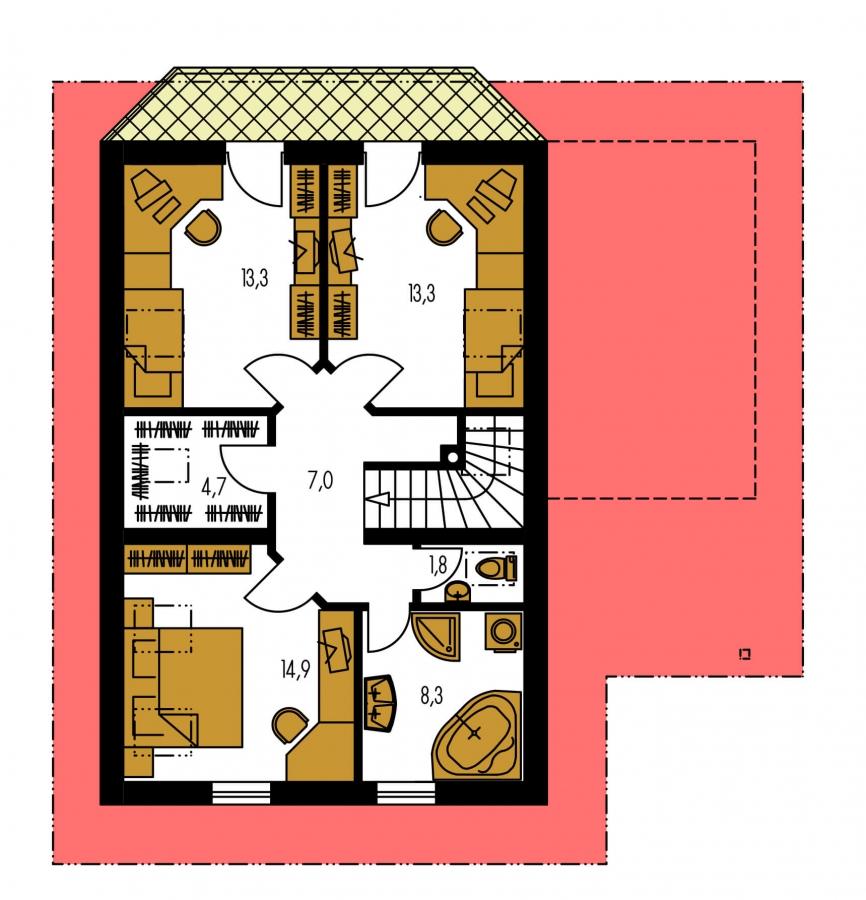 Pôdorys Poschodia - Poschodový dom s izbou na prízemí.