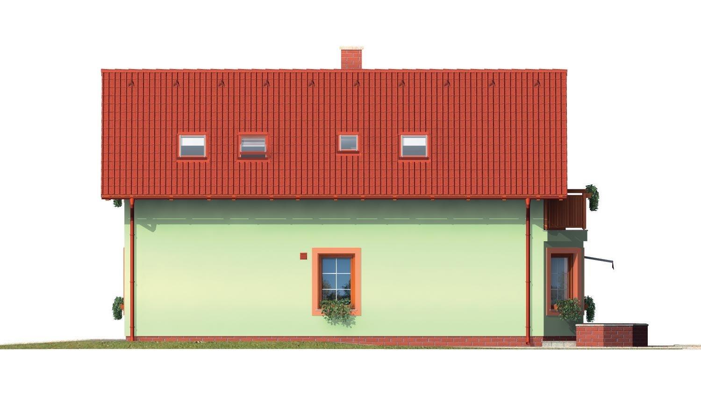 Pohľad 4. - Poschodový dom s izbou na prízemí.