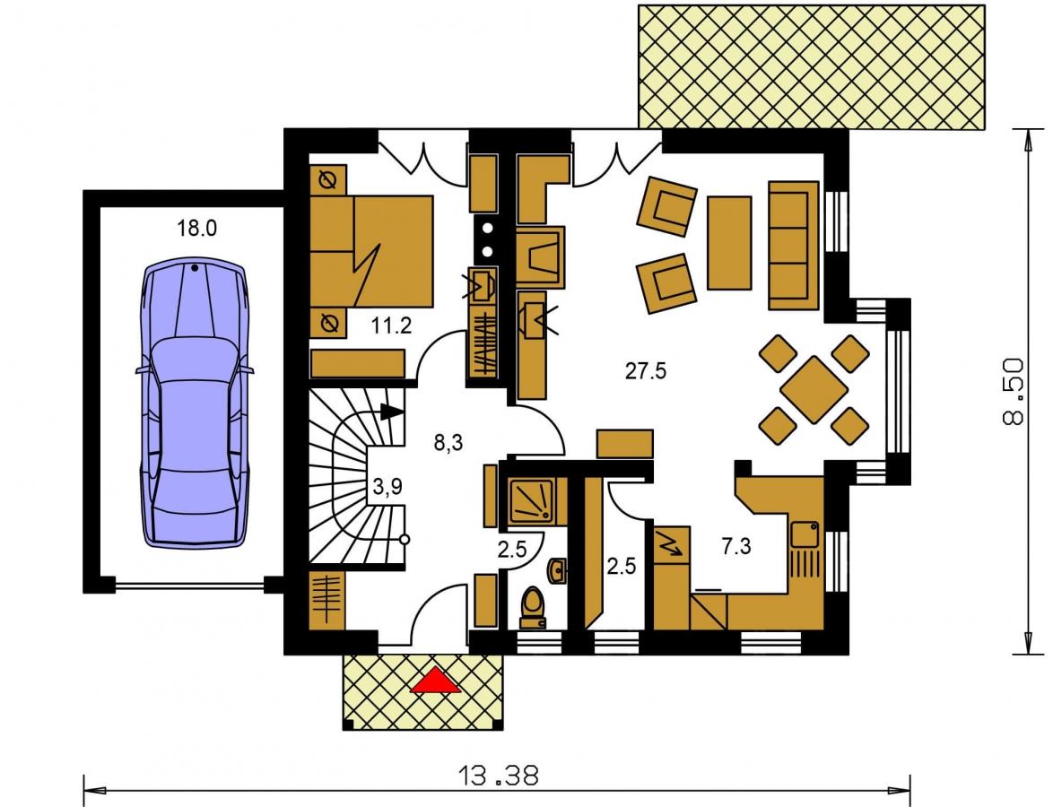 Pôdorys Prízemia - Poschodový dom so suterénom a izbou na prízemí.